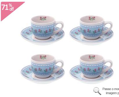 Conjunto com 4 Xícaras de Café Rose Listras/Floral